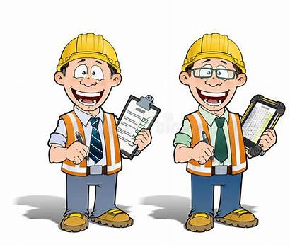 Project Worker Construction Manager Cartoon Supervisor Checking