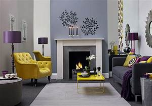 Purple yellow and gray living room purple and yellow for Yellow grey and purple living room