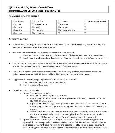 sample meeting report  production meeting report template