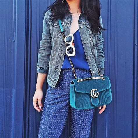 Gucci GG Marmont 2.0 Mini Quilted Velvet Crossbody Bag, Teal