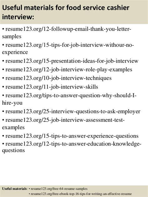 top 8 food service cashier resume sles