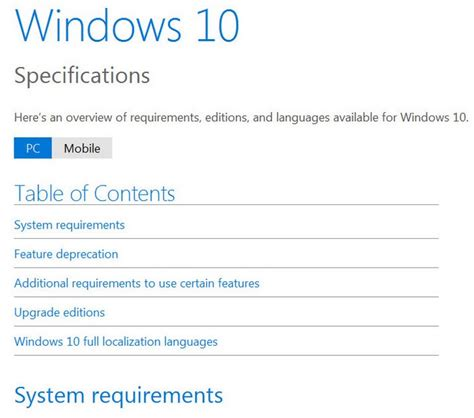windows 10 system requirements specifications microsoft
