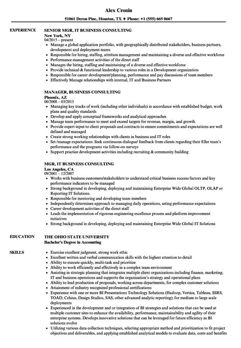 Business Consultant Resume by Resume Sle Business Consultant Management Consulting
