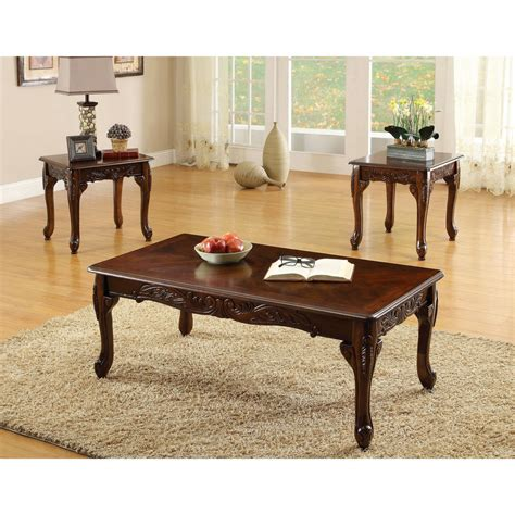 3 coffee table and end tables set f3076 on a furniture of america mariefey 3 cherry