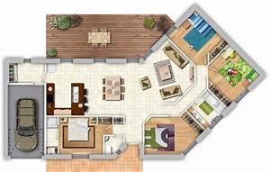 maison contemporaine avec piece de vie lumineuse 4 With maison bois toit plat 15 cube 180 hci constructions