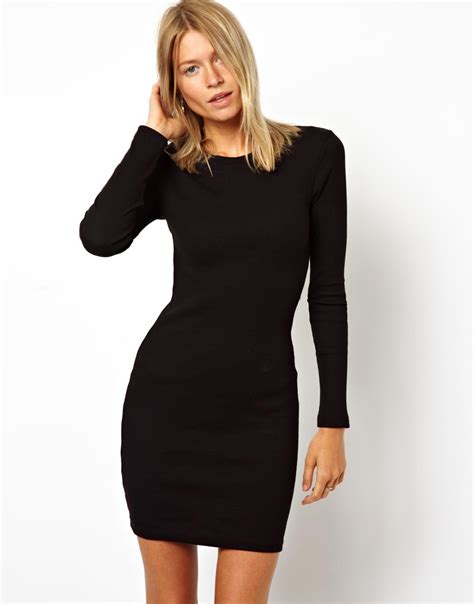 Lyst Asos Mini Ribbed Bodycon Dress With Long Sleeve In