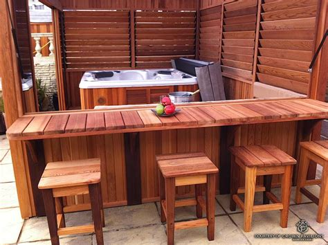You can also choose oak, pine or another wood if it is properly sealed. Hot Tub / Spa Enclosure - FLEX•fence - Louver System