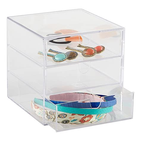 clear 3 drawer box the container store