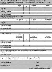 employee performance appraisal form smart church