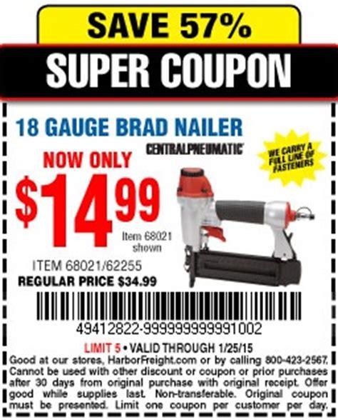 harbor freight coupon 18 gauge brad nailer lot no 68021