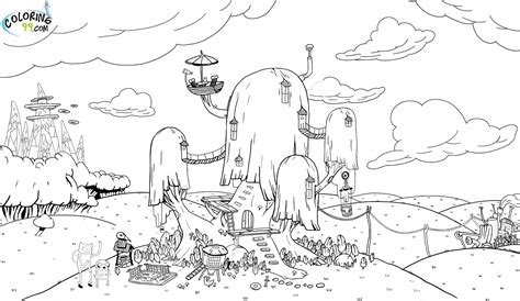 Adventure Time Coloring Pages Tree House Gallery