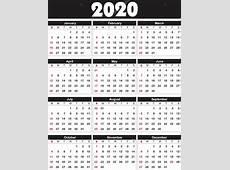 Kalender 2020 i vektor kan omvandlas till valfri storlek