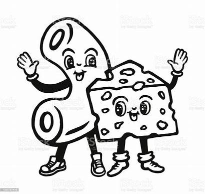 Cheese Macaroni Vector Characters Clip Clipart Illustrations
