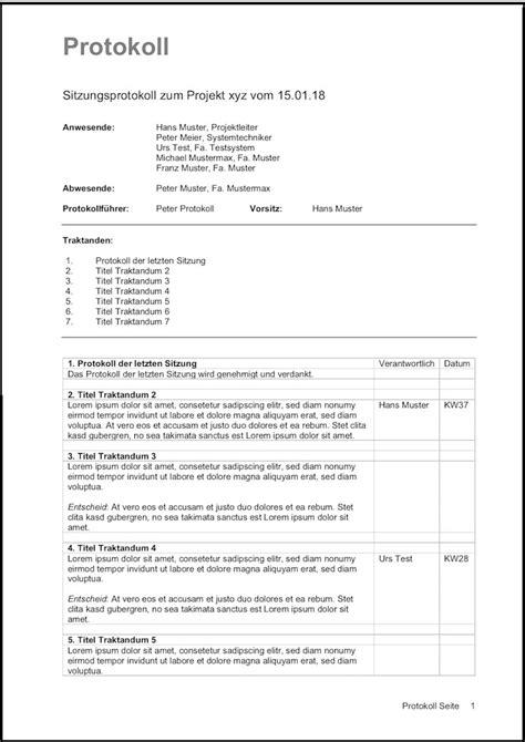 protokoll vorlage fuer word und excel kostenlos downloaden