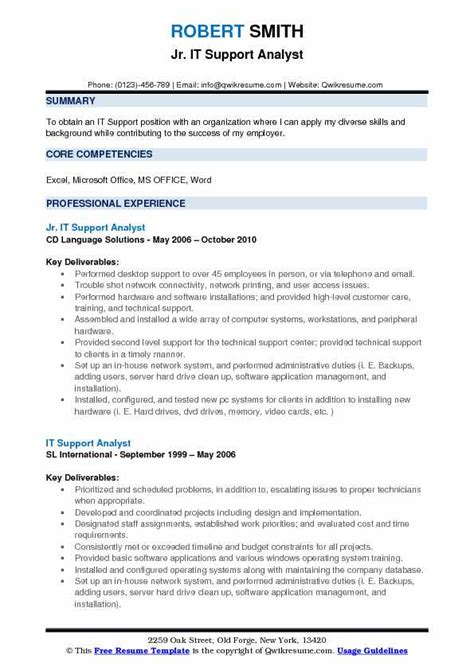 it support analyst resume sles qwikresume