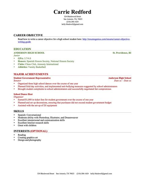 resume for high school students with no experience high school student resume no experience