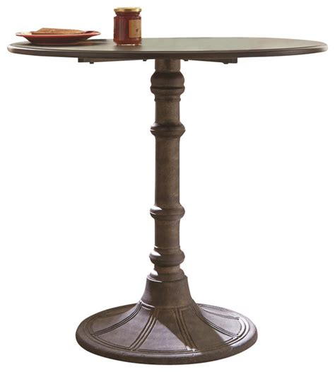 single leg dining table distressed black metal dining table round top single