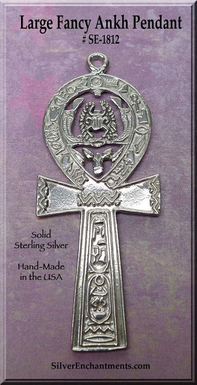 sterling silver large ankh pendant  hieroglyphs