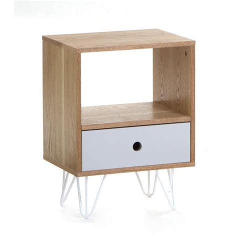 table chevet scandinave table de chevet 1 tiroir esprit scandinave coloris gris achat vente chevet table de