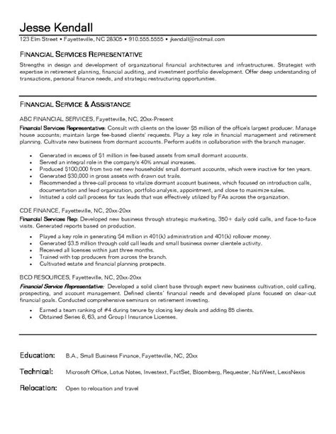 Financial Services Rep Resume by Exle Financial Service Representative Resume Free Sle