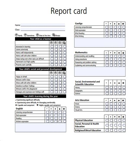 report card template 28 free word excel pdf documents 145 | Sample Report Card Template PDF