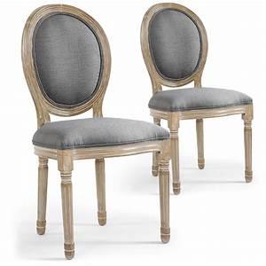 Chaise Medaillon But : lot de 2 chaises m daillon louis xvi tissu gris ~ Teatrodelosmanantiales.com Idées de Décoration