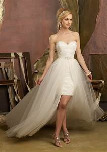 white ivory beach short front long train detachable skirt With wedding dress short in front with long train