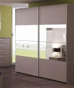 Porte Coulissante Placard Miroir : armoire 2 portes coulissantes avec miroir coloris basalte ~ Melissatoandfro.com Idées de Décoration