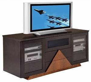 Furnitech Contemporary 64 Inch TV Stand With Triangle Base