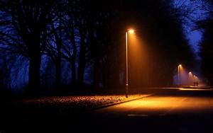 Nature night lights lamps lamp-post trees lightbeams roads ...