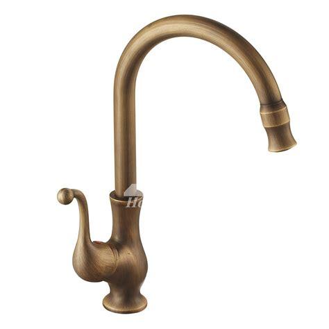 Brass Faucet Kitchen by Antique Brass Single Handle Gooseneck Kitchen Faucet