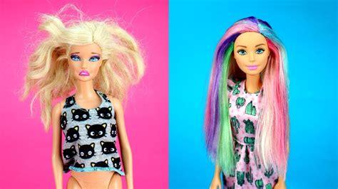 diy barbie hairstyles rainbow color dreadlocks easy barbie