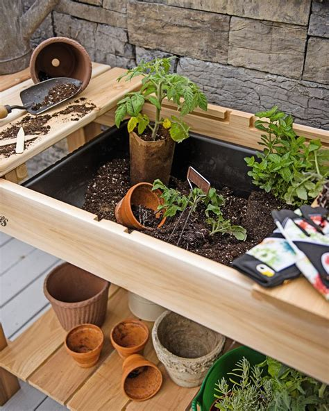 diy potting table with sink potting bench cedar potting table with soil sink