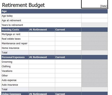 Retirement Budget Worksheet  Retirement Budget Template