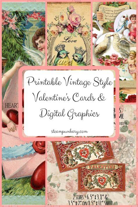 printable vintage style valentines cards digital graphics
