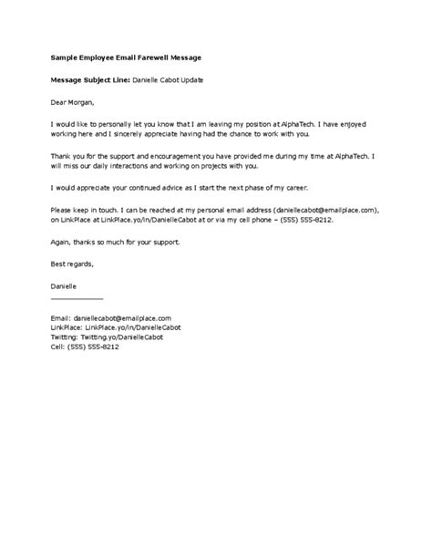 farewell letter to employees employee farewell message template free 21801