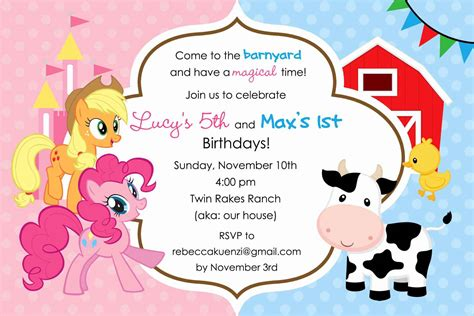 a birthday invitation my little pony birthday cards gangcraft net