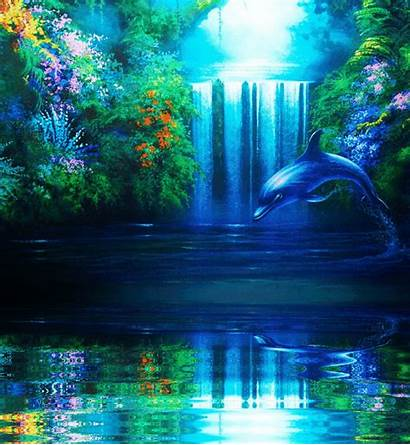 Wallpapers Animation Serene Fall Giphy Waterfall Nature