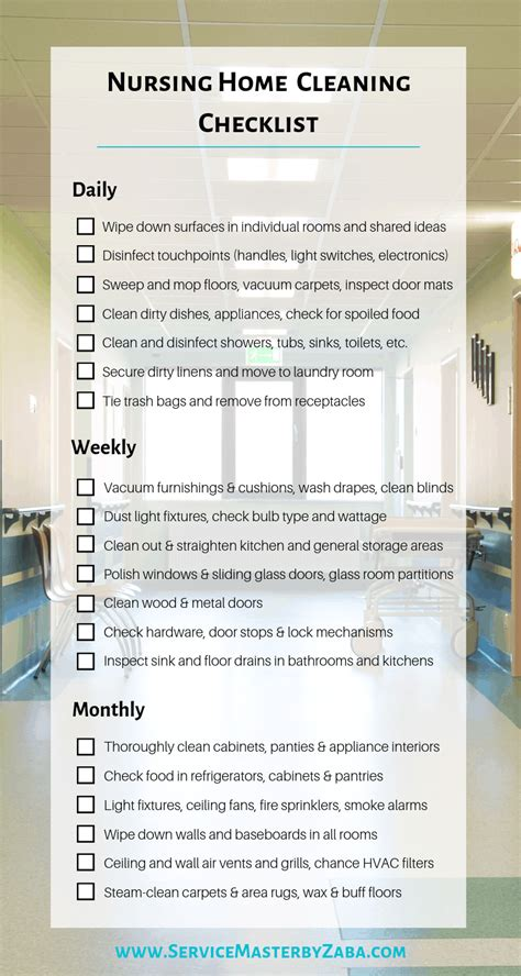 Apartment Cleaning Duties by Nursing Home Cleaning Checklist Daily Weekly And Monthly