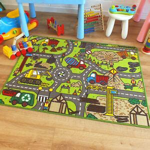 Mat Site - superb childrens rug construction site road map play