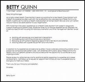 health care assistant cover letter sample livecareer With health care assistant cover letter examples