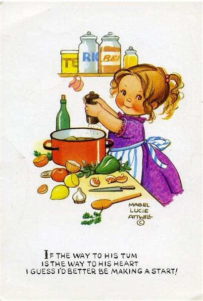Mabel Lucie Attwell Cooking Tum Postcard Artist