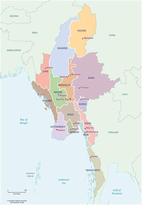 myanmar statesregions cartogis services maps  anu