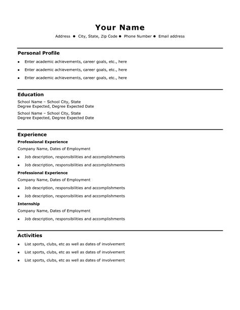 Free Simple Resume Templates by Free Basic Resume Templates Sle Personal
