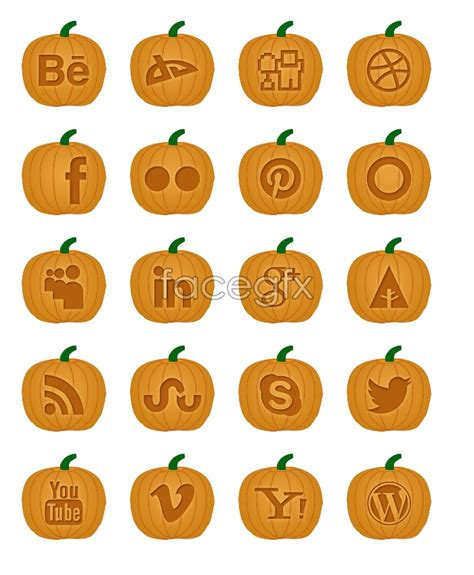 pumpkin style social media icons