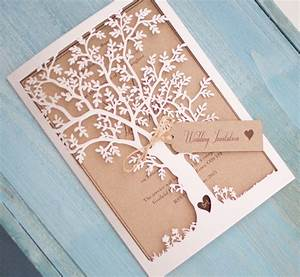 Vintage style lasercut black tree invitation vintage for Laser cut tree wedding invitations uk