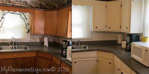 Kitchen Cabinets Updated with Paint & Trim   My Repurposed