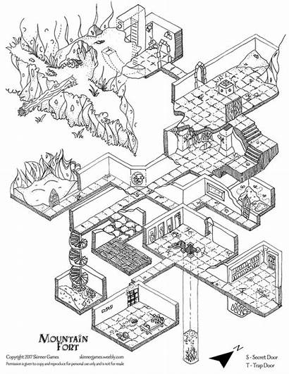 Dungeon Map Maps Isometric Drawing Fantasy Rpg