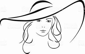 Silhouette Of Beautiful Woman In A Elegant Hat stock ...
