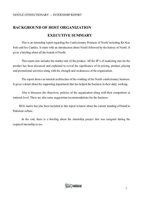 How To Write Internship Report In Resume by Nestle Internship Report
